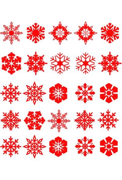 New Jargon 25 Adet Farklı Kar Tanesi Çıkartma Kırmızı