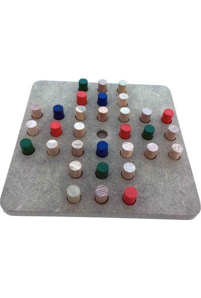 Ahşap Solo Test Zeka Oyunu + 18 Taş Oyunu