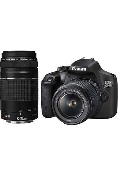 Canon EOS 2000D+18-55mm+75-300mm DSLR Fotoğraf Makines