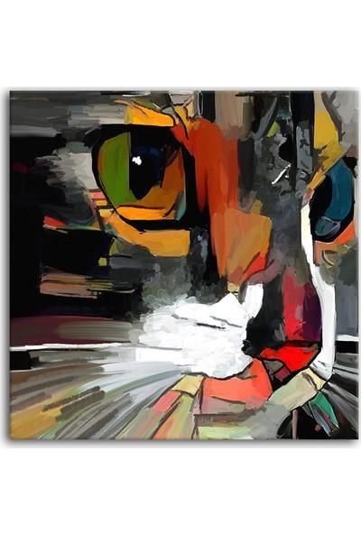Decobritish Kedi Yağlı Boya Kanvas Tablo