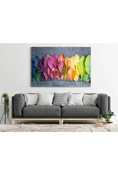 Diji Kanvas Kurutulmuş Renkli Yapraklar Kanvas Tablo