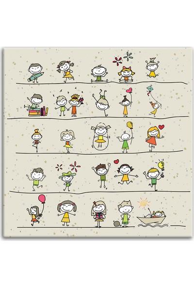 Diji Kanvas Mutlu Çocuklar Çocuk Odası Kanvas Tablo