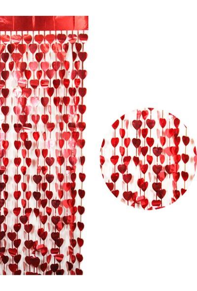 Partifabrik Kırmızı Kalpli Kapı Perdesi