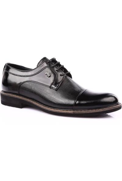 Dgn 1720-A Erkek Termo Vardolalı Taban Bağcıklı Klasik Ayakkabı Siyah Rugan