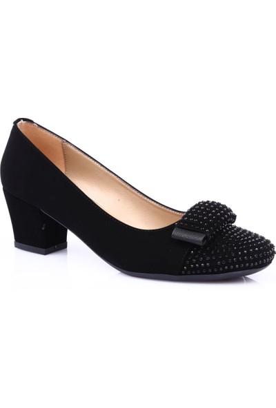 Beety 8630 Kadın Küt Burun Önü Silver Taşlı Kurdeleli Kısa Topuklu Ayakkabı Siyah Velvet