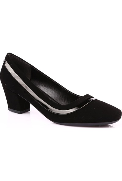Beety 8665 Kadın Küt Burun Kısa Topuklu Ayakkabı Siyah Velvet