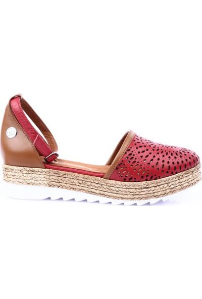 Mamma Mia D19Ya-180 Kadın Günlük Ayakkabı Kırmızı Faber - Taba