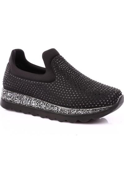 Dgn K410 Kadın Silver Taşlı Stretch Spor Ayakkabı Siyah