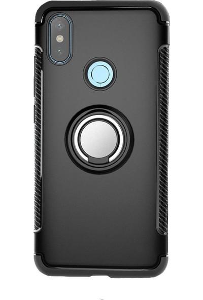 Microcase Xiaomi Mi A2 - Mi 6X Yüzük Standlı Armor Silikon Kılıf - Siyah