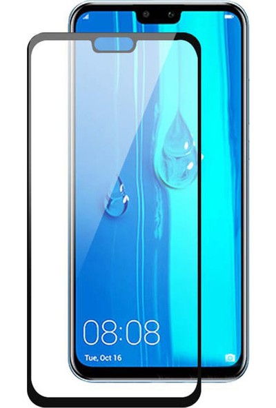 Microcase Huawei Y9 2019 Flexi Nano Esnek Tam Ekran Koruma Tempered Cam - Siyah