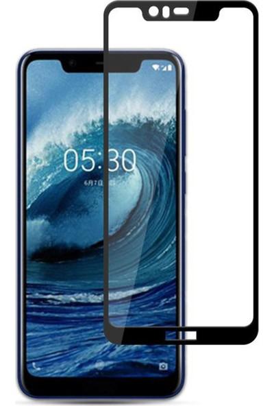 Microcase Nokia 5.1 Plus Tam Kaplayan Çerçeveli Tempered Ekran Koruyucu - Siyah