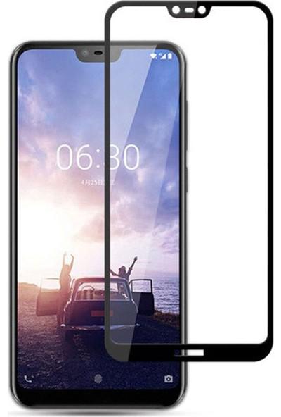 Microcase Nokia 6.1 Plus Tam Kaplayan Çerçeveli Tempered Ekran Koruyucu - Siyah