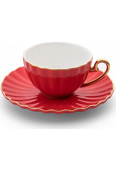 Emsan Marsilya 6 Kişilik Kahve Fincan Takımı Kırmızı
