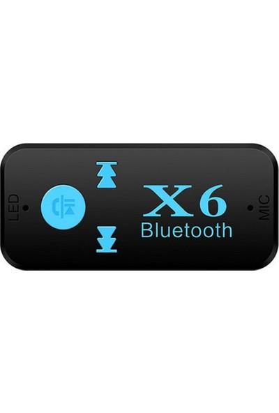 Microcase X6 Bluetooth Müzik Alıcısı 3.5 mm Aux Adaptör Araç Kiti 3in1
