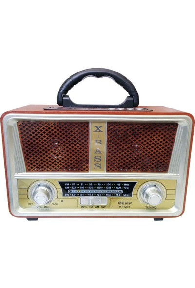 Meier Smart Sepet Şarjlı Nostaljik Radyo M-112BT USB/SD/MP3/Bluetooth