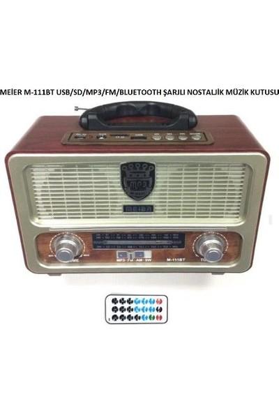 Meier Smart Sepet M-111BT Şarjlı Nostaljik Radyo Bluetootlu-Kumandalı USB/SD
