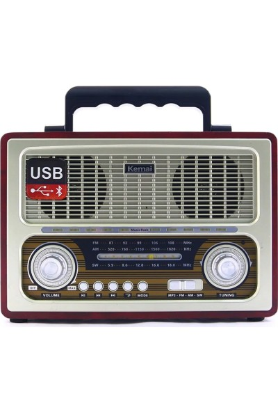 Kemai Smart Sepet MD-1800BT Bluetooth Usb Sd Fm Nostaljik Görünümlü Radyo