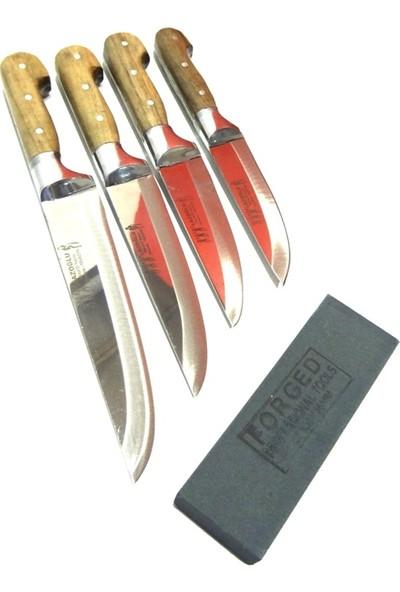 Lazoğlu Sürmene Bilezikli El Yapımı Mutfak Bıçak Seti 4'lü