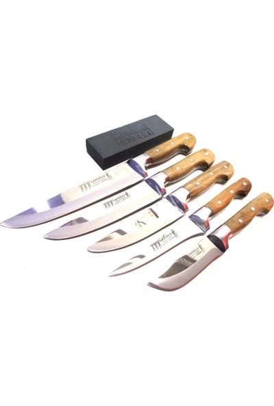 Mutfak Bıçak Seti 5'li Lazoğlu Sürmene Bilezikli El Yapimi (Bileme Taşı Hediyemizdir)