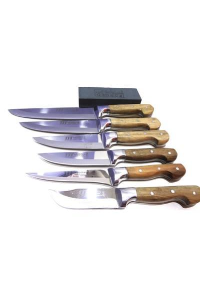 Mutfak Bıçak Seti 6'lı Lazoğlu Sürmene Bilezikli El Yapimi (Bileme Taşı Hediye)
