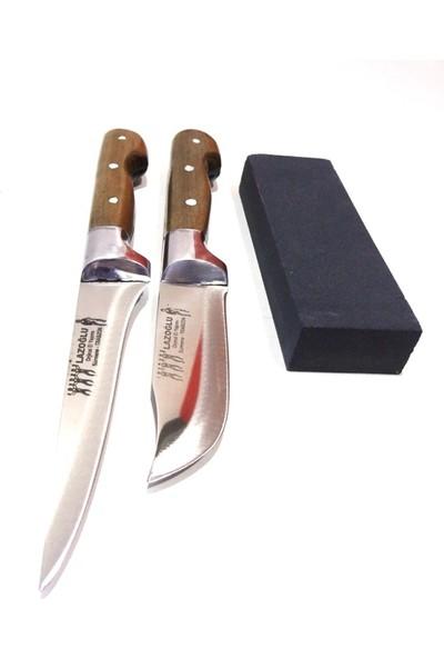 Mutfak Bıçak Seti 2'li Lazoğlu Sürmene Bilezikli El Yapimi (Bileme Taşı Hediyeli)