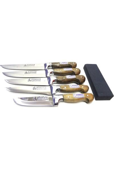 Mutfak Bıçak Seti 5'li Sürmene Lazoğlu Bilezikli Soğuk Mühür (Bileme Taşı Hediye)
