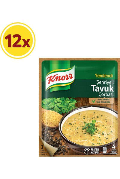 Knorr Klasik Çorba Serisi Şehriyeli Tavuk Çorbası 12'li Paket