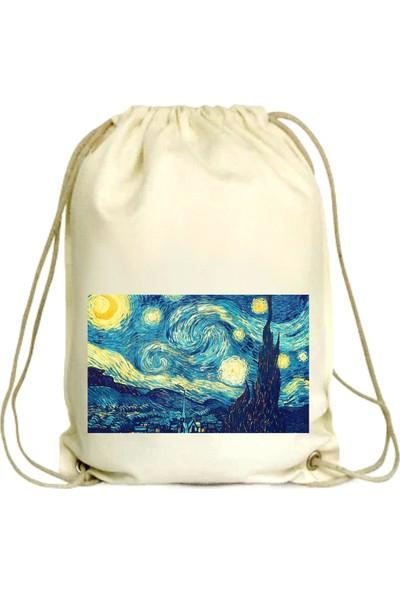 Anadolu Promosyon Van Gogh Desenli Ham Bez Büzgülü Çanta