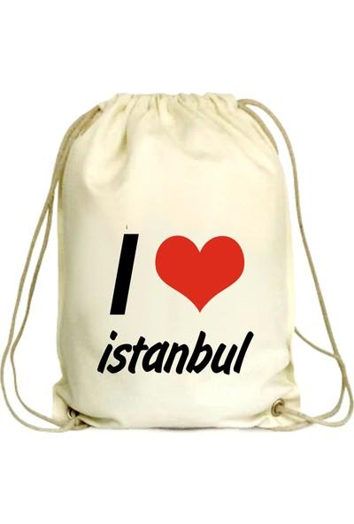 Anadolu Promosyon I love İstanbul Desenli Ham Bez Büzgülü Çanta