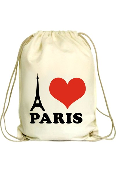 Anadolu Promosyon I love Paris Desenli Ham Bez Büzgülü Çanta