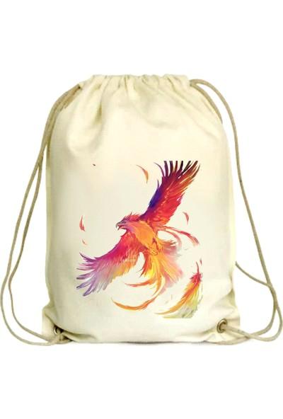 Anadolu Promosyon Kuş Desenli Ham Bez Büzgülü Çanta