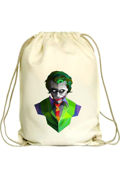 Anadolu Promosyon Joker Desenli Ham Bez Büzgülü Çanta