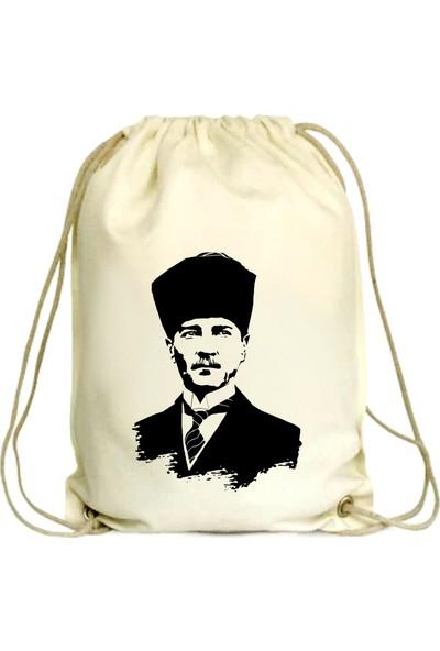 Anadolu Promosyon Atatürk Desenli Ham Bez Büzgülü Çanta
