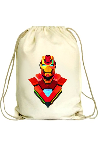 Anadolu Promosyon Iron-Man Desenli Ham Bez Büzgülü Çanta