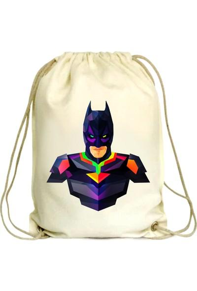 Anadolu Promosyon Batman Desenli Ham Bez Büzgülü Çanta