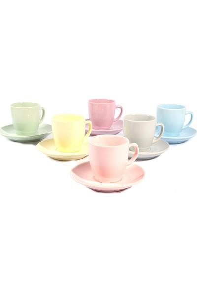 Keramika 6 Renkli 12 Parça Fincan Takımı