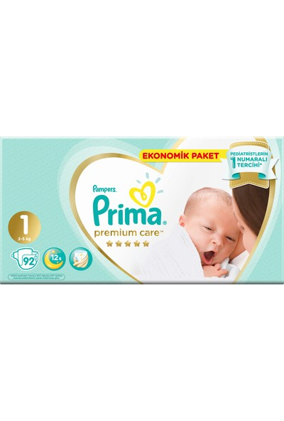 Prima Bebek Bezi Premium Care 1 Beden 92 Adet Yenidoğan Jumbo Paket
