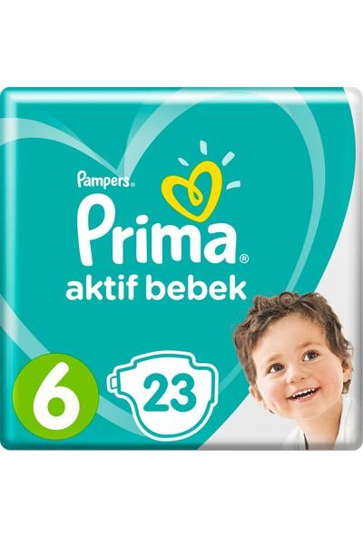 Prima Bebek Bezi Aktif Bebek 6 Beden 23 Adet Ekstra Large İkiz Plus Paket