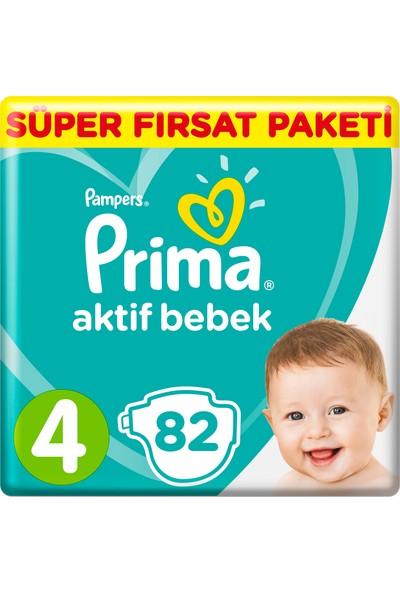 Prima Bebek Bezi Aktif Bebek 4 Beden 82 Adet Maxi Mega Fırsat Paketi