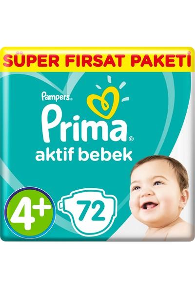 Prima Bebek Bezi Aktif Bebek 4+ Beden 72 Adet Maxi Plus Süper Fırsat Paketi