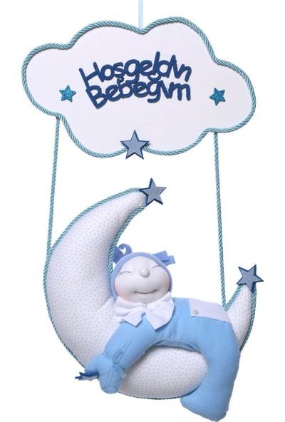 Nurlar Uyuyan Bebek Erkek Kapı Süsü