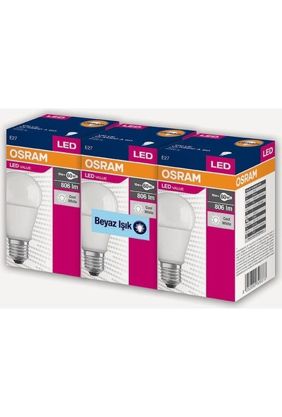 Osram Led Value 3 Lü Ampul Beyaz Işık 8.5 W 60Watt