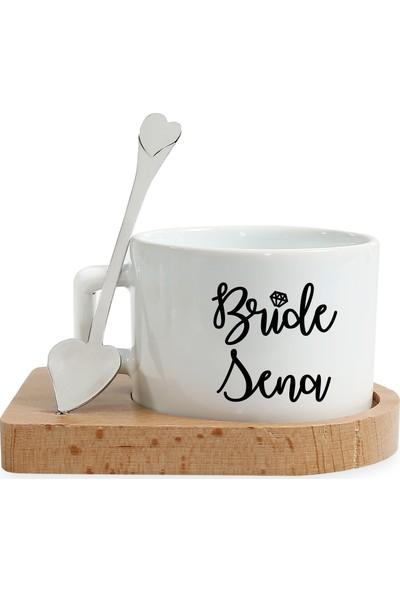 Mutlu Mutfak Atölye Kişiye Özel Tasarım Ahşap Altlıklı Fincan Bride