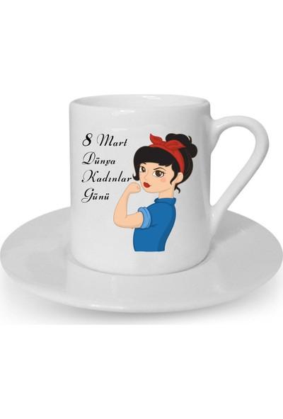 Mutlu Mutfak Atölye Kişiye Özel Tasarım Türk Kahvesi Fincanı Kadınlar Günü