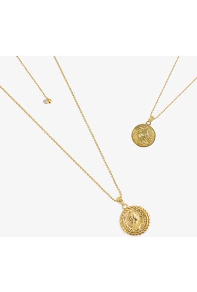 Lapidore Elizabeth 1901 Penny Gold Asansörlü Zincirli Madalyon