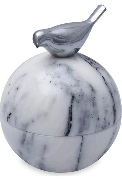 Escala Interior Design Mermer Bonbon Şekerlik Beyaz Gümüş Kuş