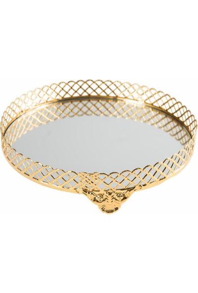 Kazanabil Klasik Tasarım Aynalı Jardinyer Tepsi Gold 25 cm