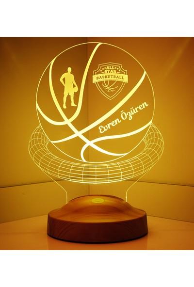 Sevgi Lambasi Kişiye Özel 3 Boyutlu Basketbol Led Lamba