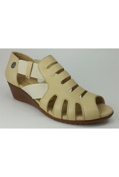 Mammamia 1635 Günlük Kadın Sandalet Bej