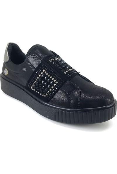 Mammamia 3065 Günlük Kadın Ayakkabı Siyah Saten
